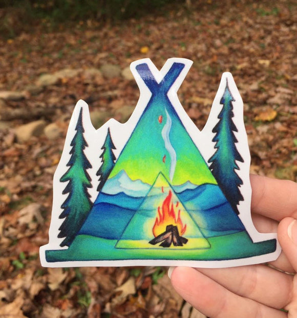 Tent Camping Hand Draw Vinyl Decal Sticker