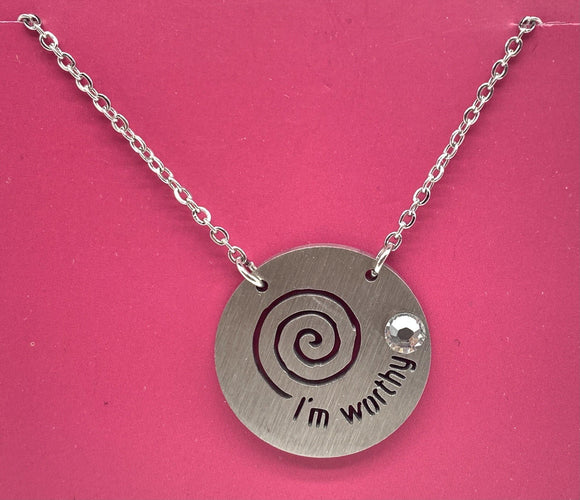 Journey I'm Worthy Stainless Steel Necklace with Crystal - Turnmeyer Galleries