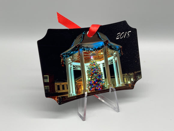 Gazebo At Christmas Metal Photo Ornament 2018