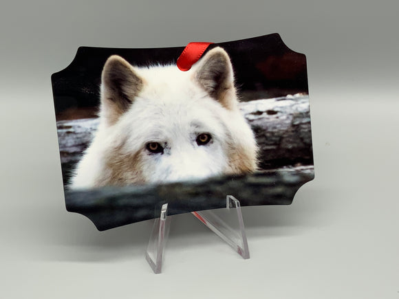 Howling Wolf and Peek Metal Photo Ornament