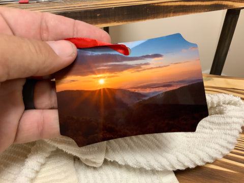 Sunset and Lightning Skyline Drive Metal Photo Ornament