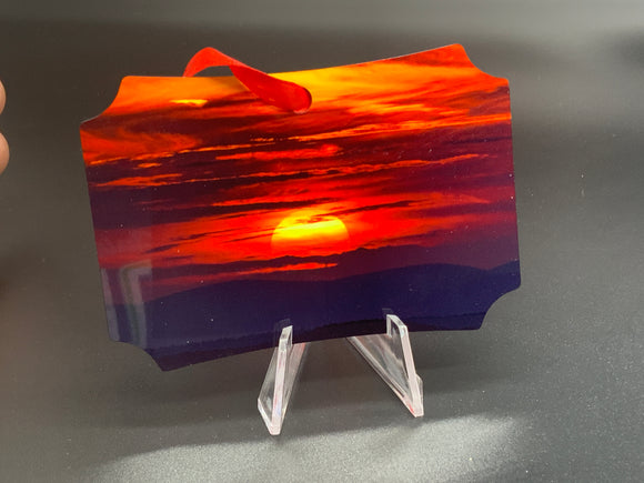 Moon and Sunset Metal Photo Ornament