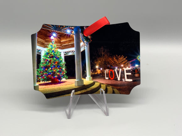Gazebo with LOVE Metal Ornament