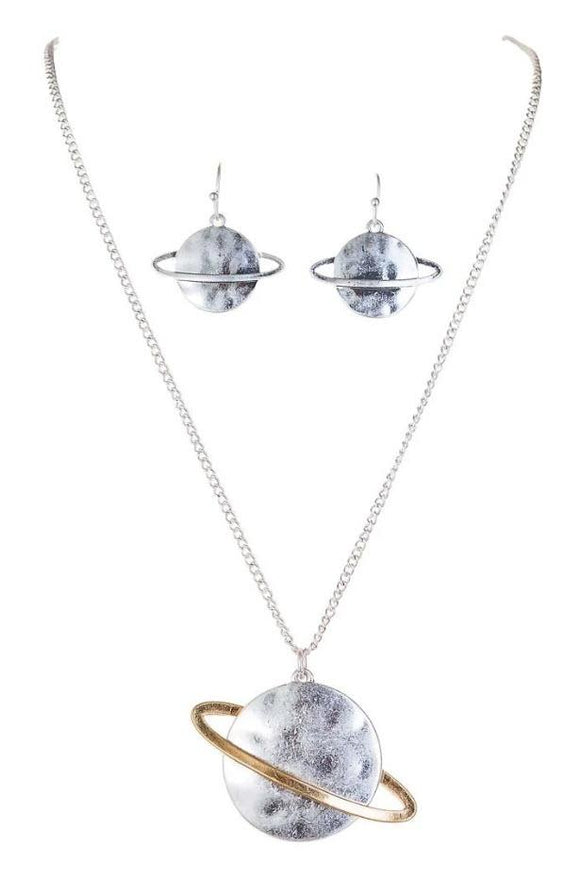 TWO TONE SATURN NECKLACE SET - Turnmeyer Galleries
