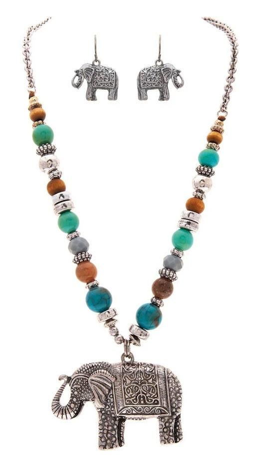 SILVER MULTI BEAD ELEPHANT PENDANT NECKLACE SET - Turnmeyer Galleries