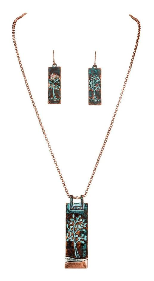 PATINA ETCHED TREE OF LIFE NECKLACE SET - Turnmeyer Galleries