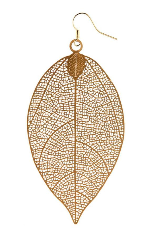 Large Leaf in Gold Ear Rings - Turnmeyer Galleries