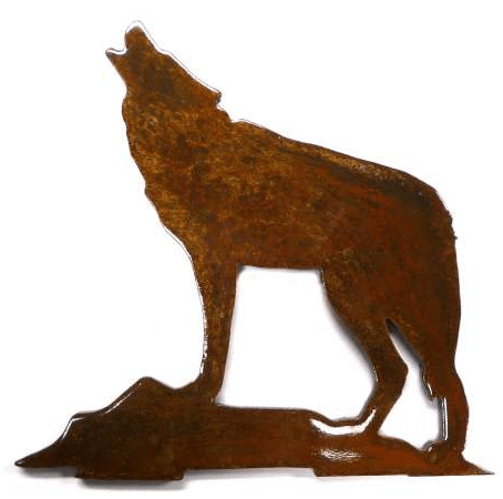 Wolf on Rocks Howling Metal MAGNET