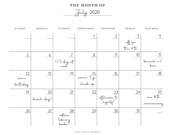 Month of July 2020 Planned Out