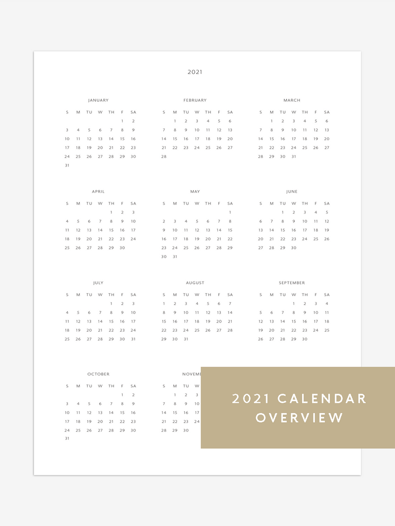 A photo of the 2021 calendar overview printable