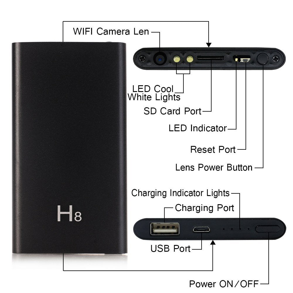 Camera Powerbank IP WIFI Night vision HD1080 a casablanca