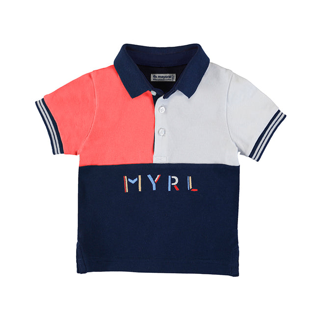 CORAL RED AND NAVY MYRL POLO TOP