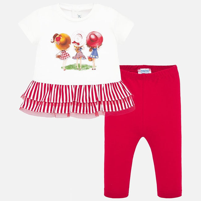 MAYORAL RED DOUBLE FRILL HEM LEGGINGS SET