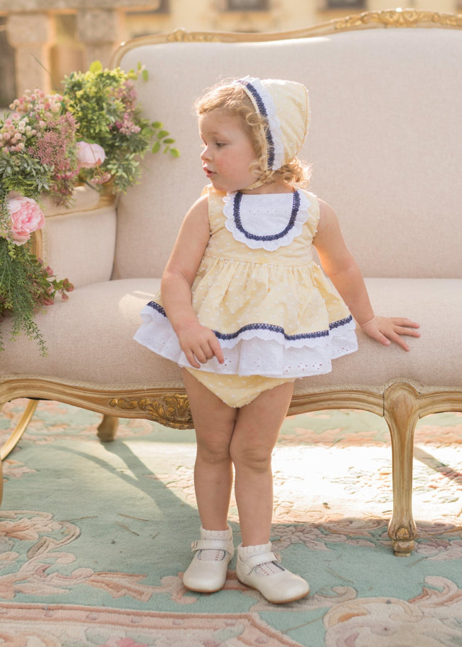 DOLCE PETITE YELLOW PUFF BALL DRESS, BONNET AND KNICKERS 2124