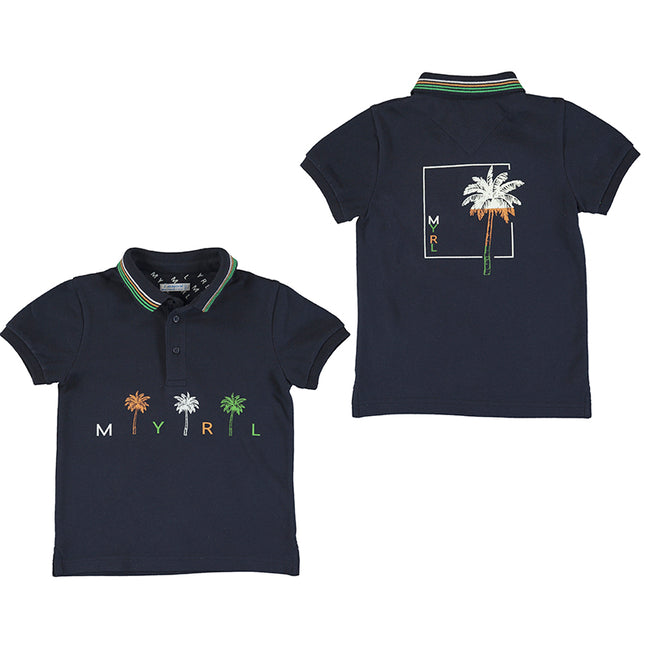 NAVY PALM TREE POLO
