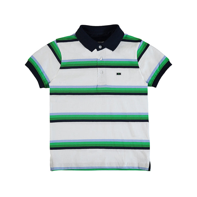 GREEN AND NAVY STRIPE POLO