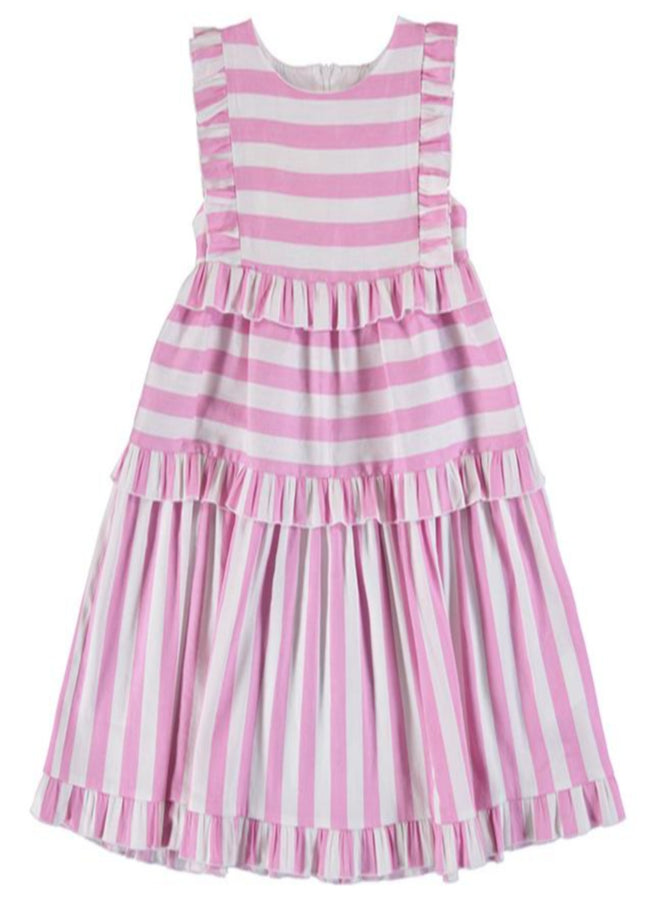 MAYORAL PINK AND WHITE STRIPE DRESS (PRE ORDER JANUARY DELIVERY)