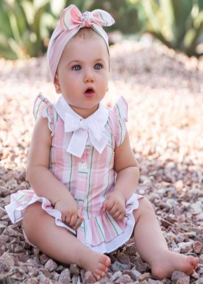 BABY PINK STRIPE HEAD SCARF