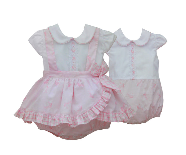 PINK 2 IN 1 TEDDY PRINT ROMPER AND DRESS