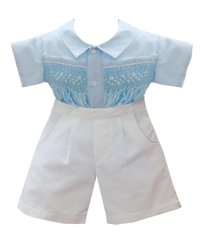 BABY BLUE AND WHITE STRIPE SMOCKED SUIT