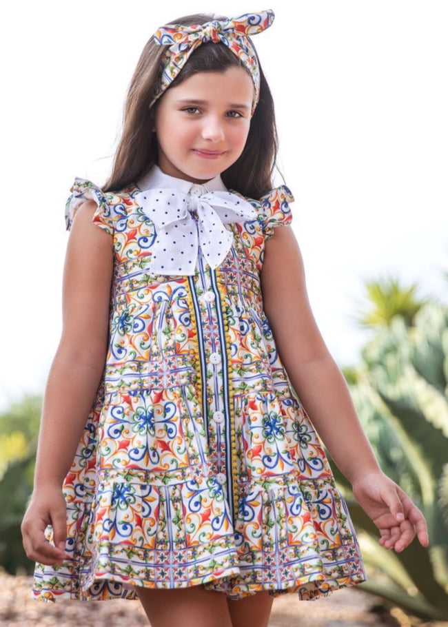 PATTERN DRESS WITH BOW DETAIL