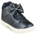 BOWTIQUE NAVY FLOWER HIGH TOP TRAINERS