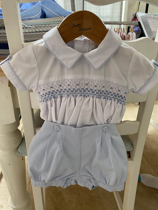 BLUE AND WHITE DIMPLED SMOCKED SUIT (PRE ORDER)
