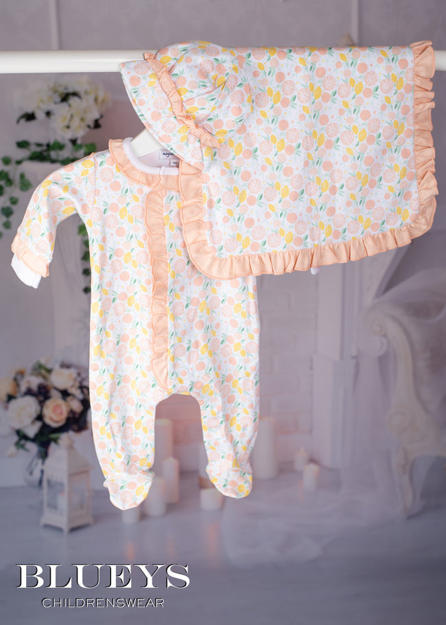 NEWBORN FRILLY PEACH BABY GROW LAYETTE SET