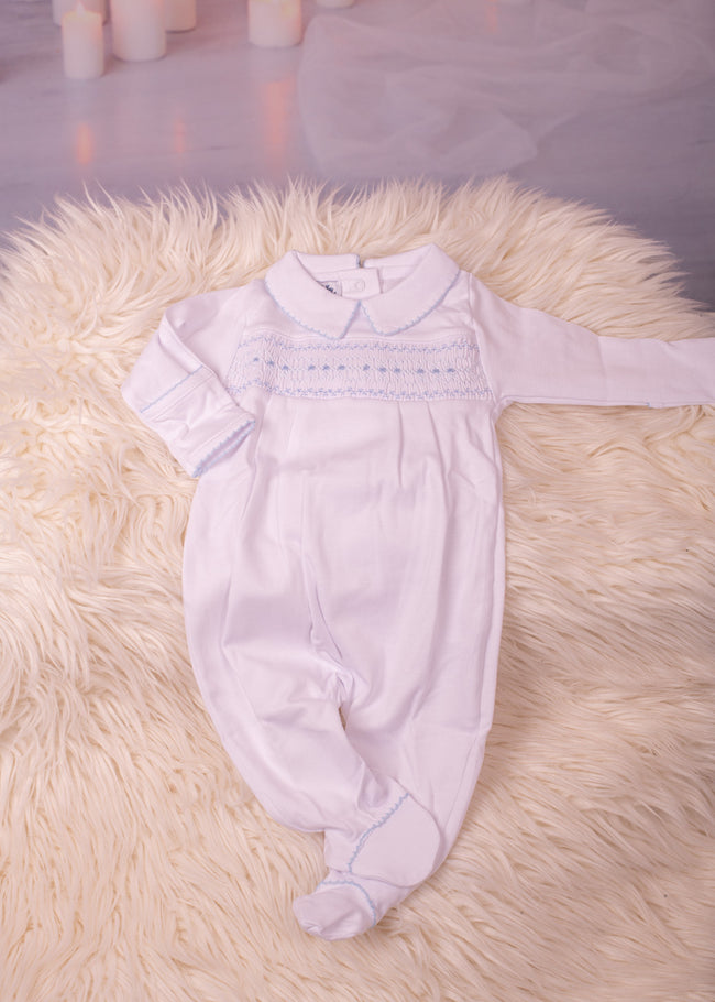 BECKY AND BENS CLASSIC SMOCKED WHITE AND BLUE BABYGROW