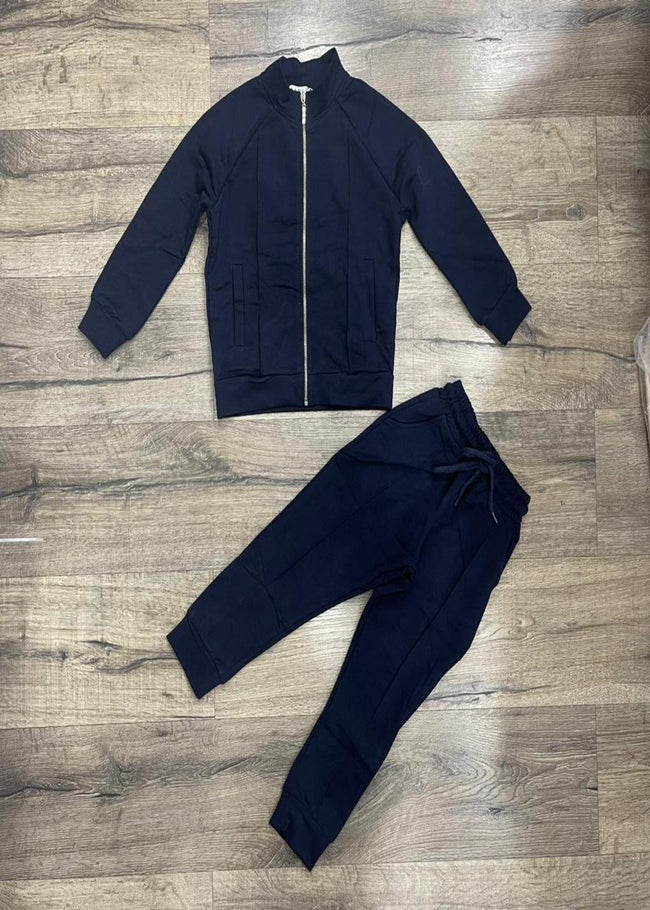 NAVY ZIP UP TRACKSUIT WITH DRAW STRING BOTTOMS