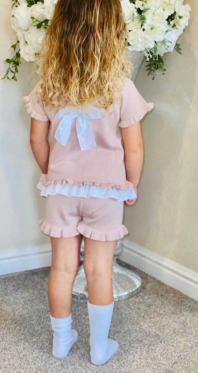 GRANLEI BLUSH PINK SPARKLE SHORTS SET