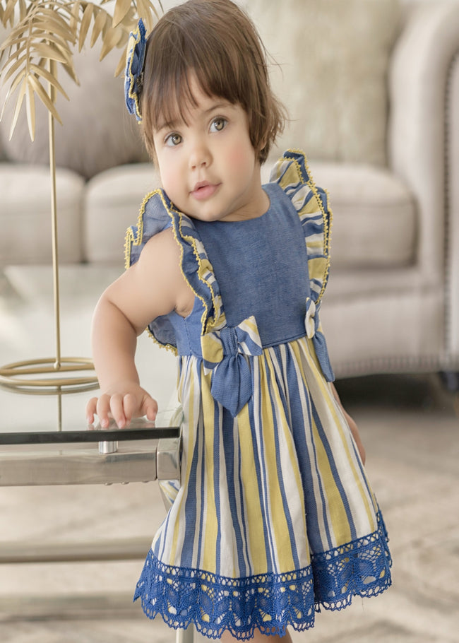 BLUE AND YELLOW BABY DRESS WITH KNICKERS
