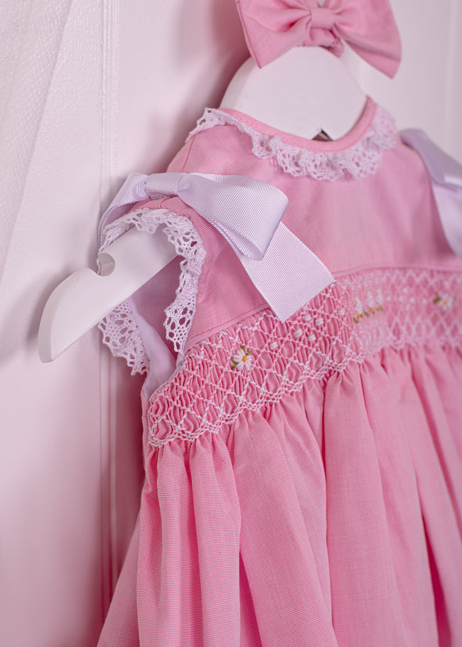 PINK BABY CHICKS SMOCKED DRESS AND KNICKERS