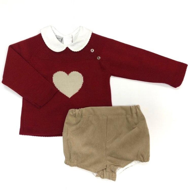 RED AND BEIGE HEART JAM PANTS SET