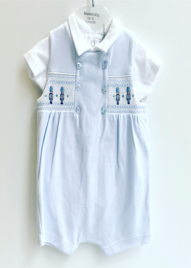 BLUES BABY SMOCKED SOLDIER ROMPER
