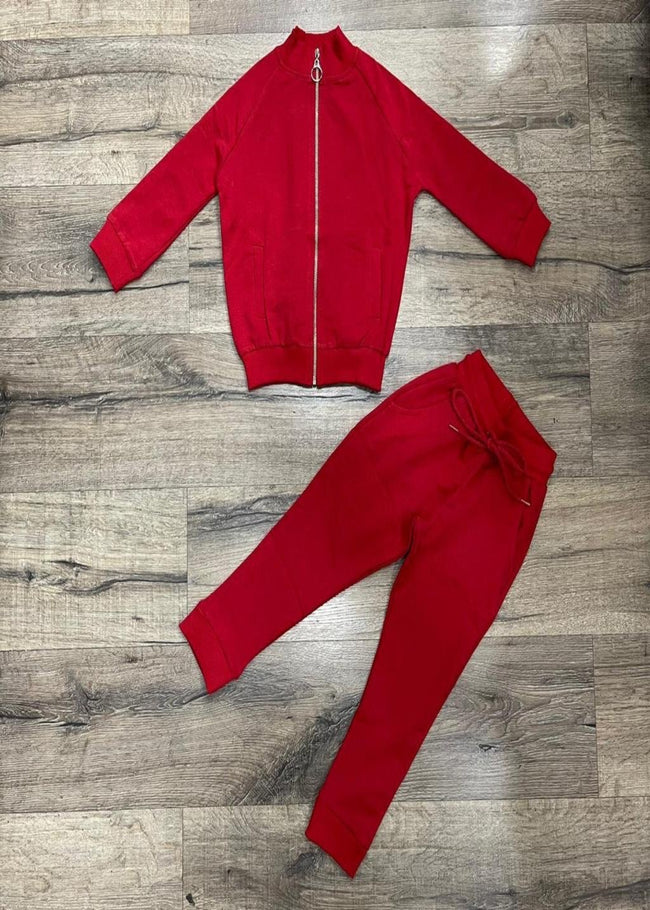 RED ZIP UP TRACKSUIT WITH DRAW STRING BOTTOMS