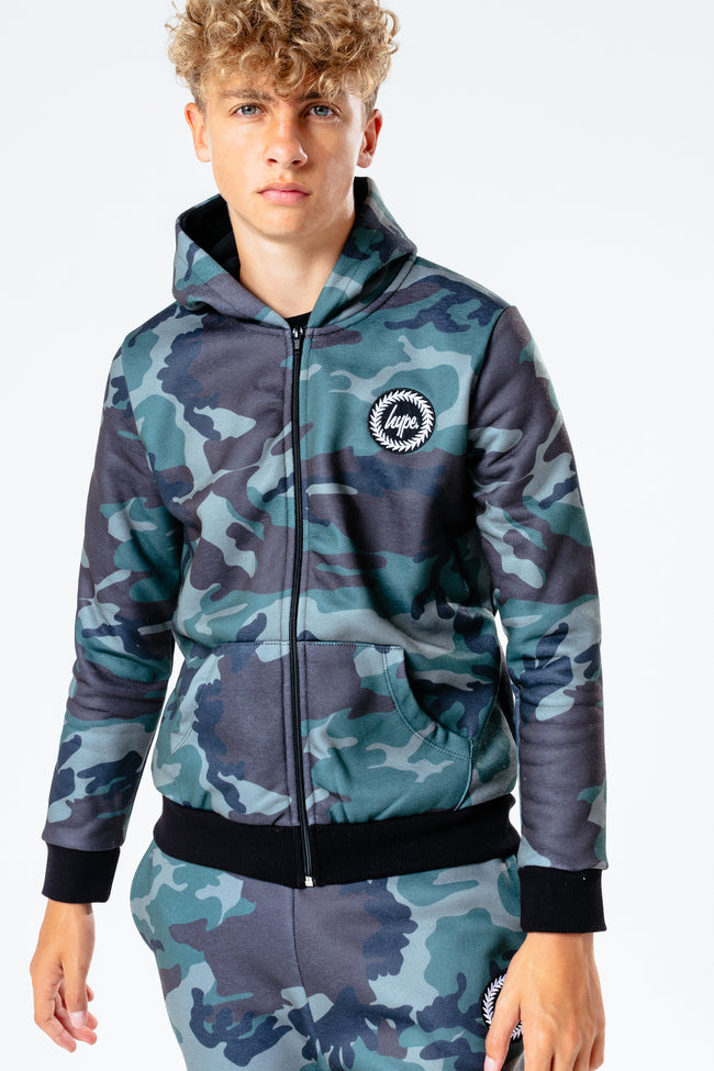 HYPE CAMO COLLEGE BOYS ZIPPED HOODIE