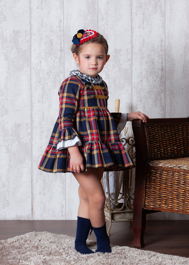 ABUELA TATA MUSTARD AND NAVY PUFF BAL DRESS