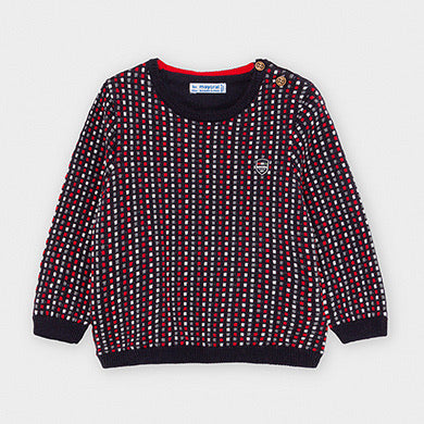 MAYORAL NAVY BABY JACQUARD NAVY AND RED JUMPER
