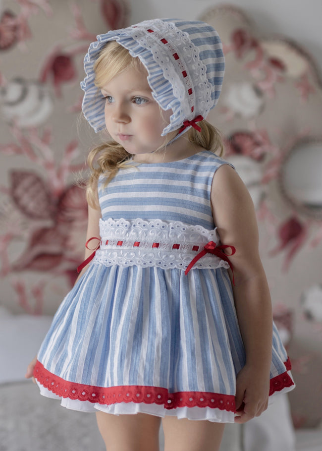 BLUE AND RED BABY DRESS WITH KNICKERS