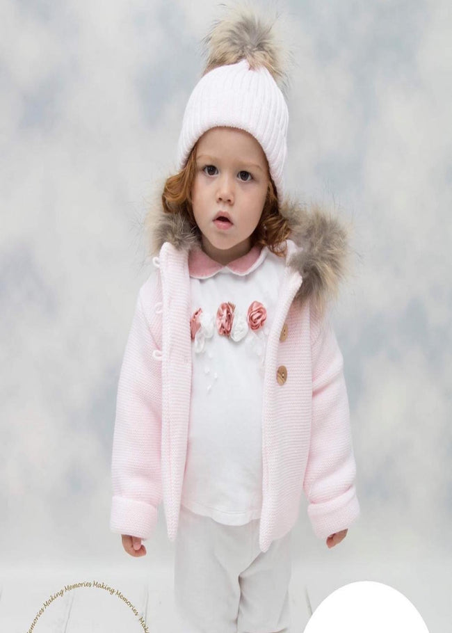 BABY PINK HEAVY KNIT COAT