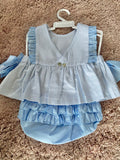 BLUE AND WHITE FRILLY JAM PANTS SET