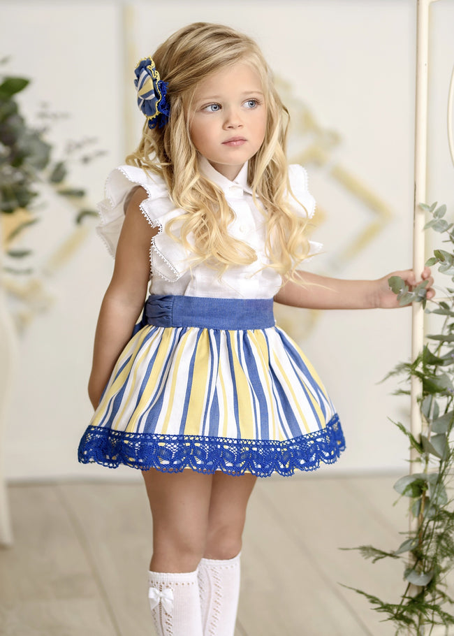 BLUE AND YELLOW SKIRT SET
