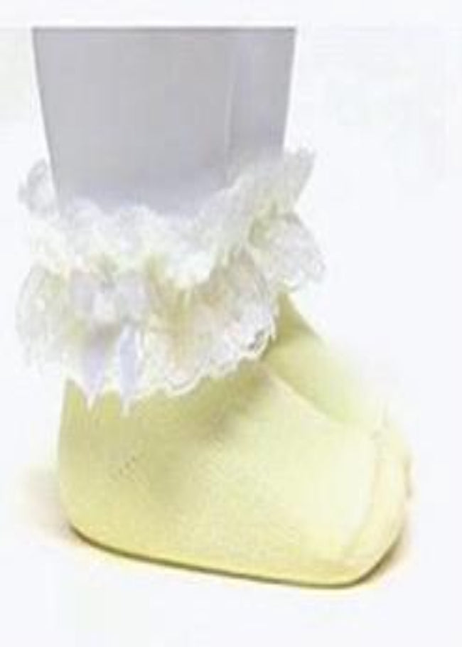LEMON AND WHITE SHORT SOCKS WITH LEAGUE LACE