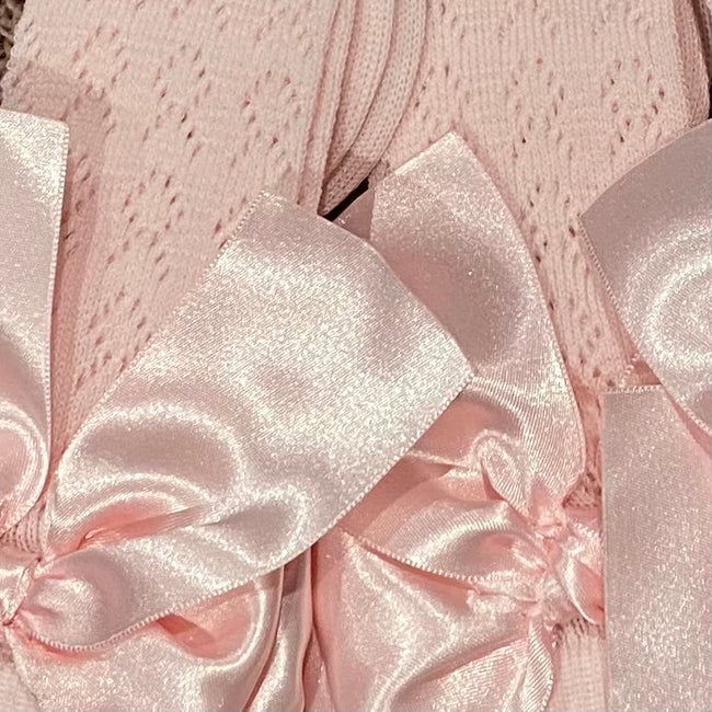 BABY PINK FISH HOLE KNEE SOCKS WITH KNOT SATIN BOW