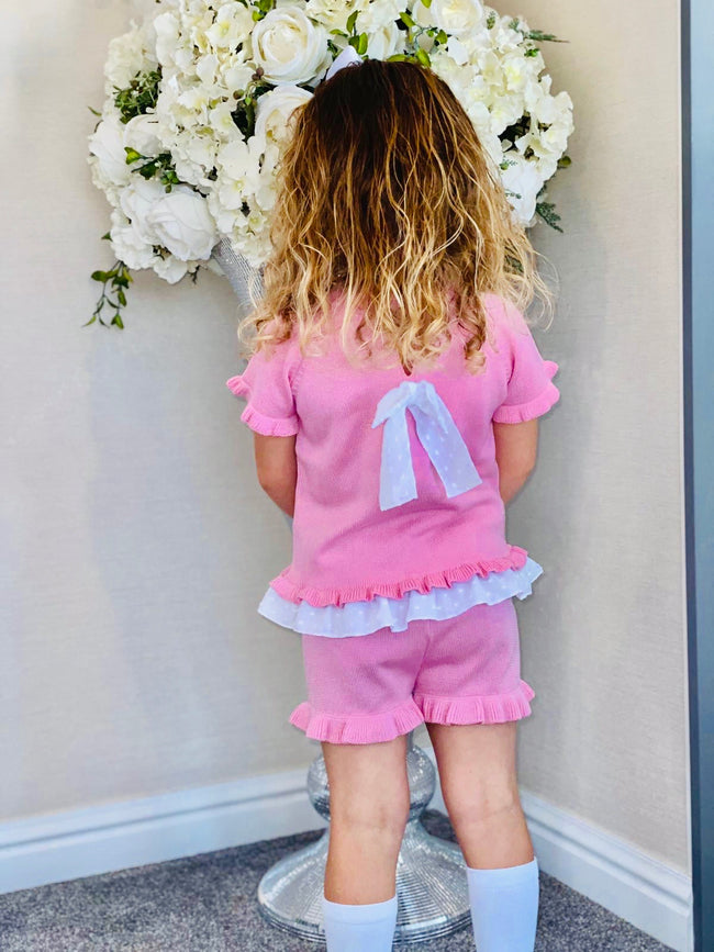 GRANLEI CANDY FLOSS PINK SPARKLE SHORTS SET