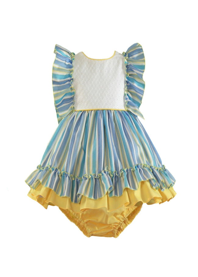 YELLOW AND BLUE STRIP BABY DRESS AND KNICKERS (PRE ORDER)