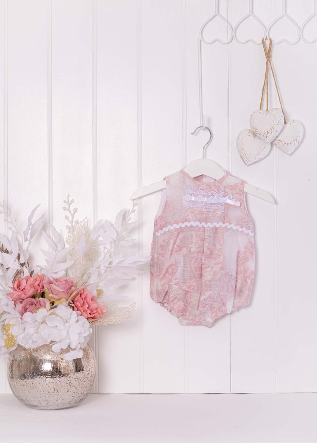 PINK AND SILVER GLITTER ROMPER