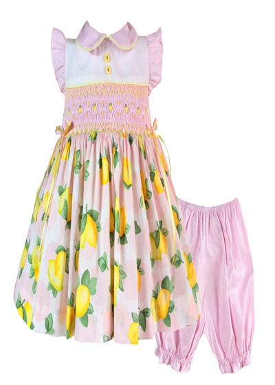 PINK LEMON PRINT SMOCKED DRESS AND KNICKERS