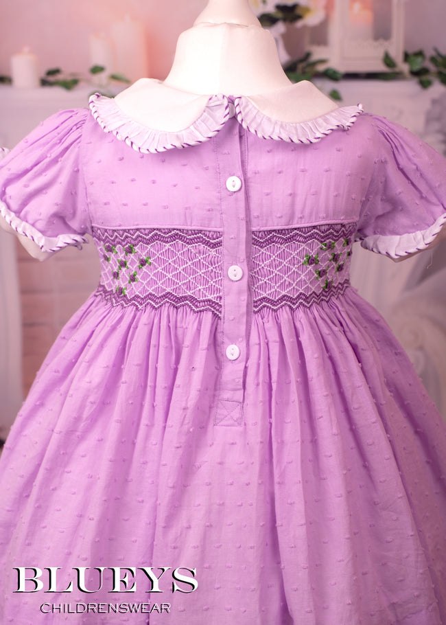 PURPLE SWISS DOT SMOCKED DRESS, KNICKERS AND HAIR BOW
